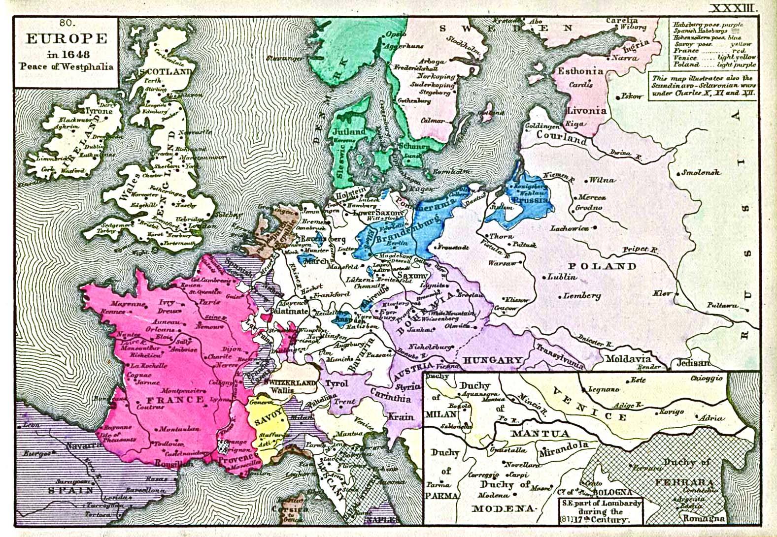 Schweden Karte Deutsch.Landkarten Des Dreissigjahrigen Kriegs